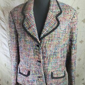 Sag Harbor Tweed Look Multi Color Blazer Size 14